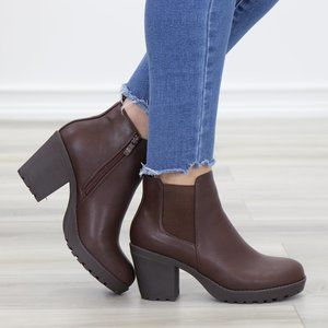 Lug Sole Ankle Boots Brown Chelsea Booties